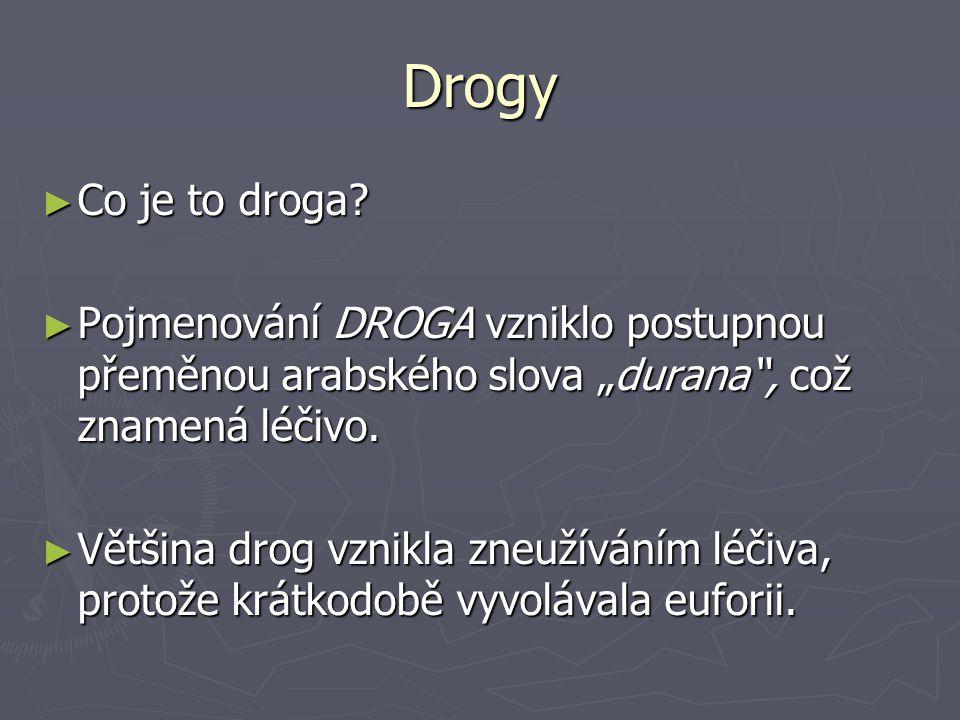 """Drogy Co je to droga Pojmenování DROGA vzniklo postupnou přeměnou arabského slova """"durana , což znamená léčivo."""