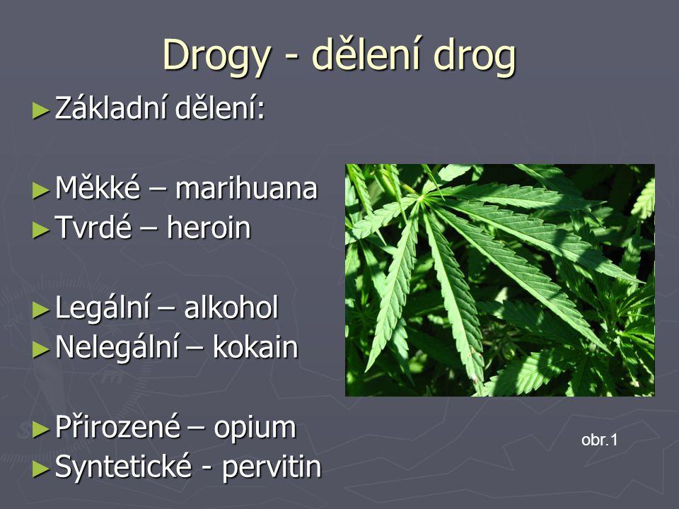 Drogy - dělení drog Základní dělení: Měkké – marihuana Tvrdé – heroin
