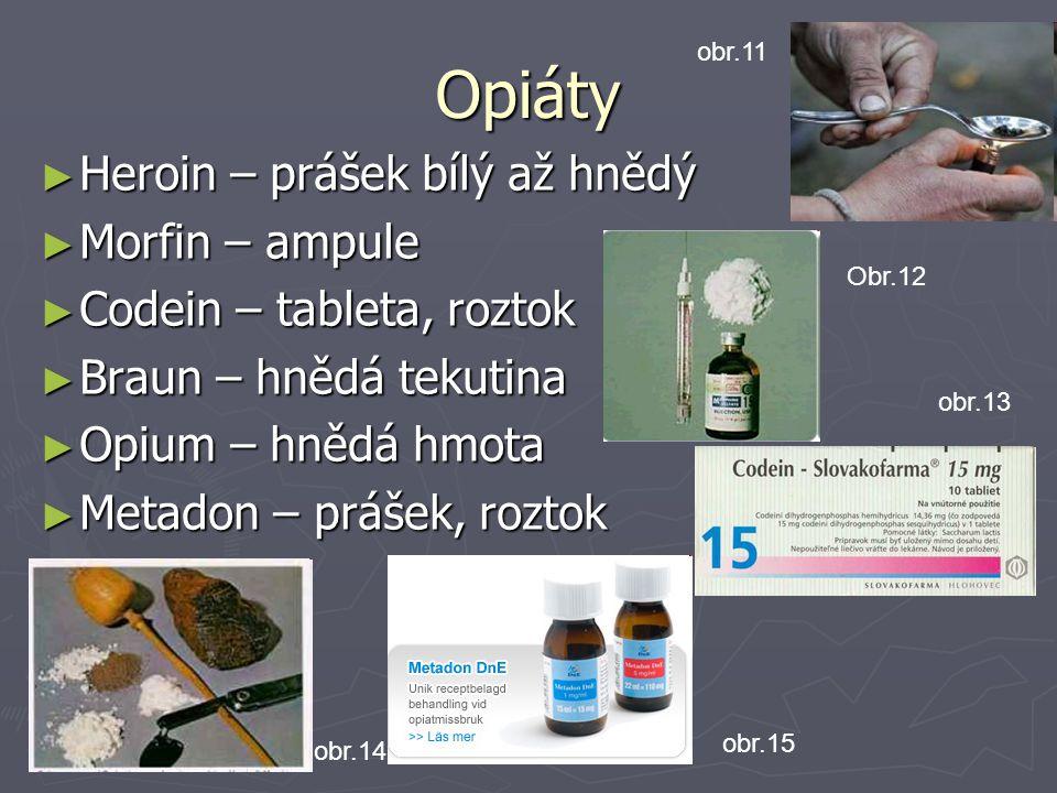 Opiáty Heroin – prášek bílý až hnědý Morfin – ampule