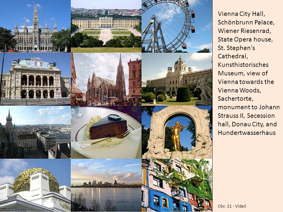 Vienna City Hall, Schönbrunn Palace, Wiener Riesenrad, State Opera house, St. Stephen s Cathedral, Kunsthistorisches Museum, view of Vienna towards the Vienna Woods, Sachertorte, monument to Johann Strauss II, Secession hall, Donau City, and Hundertwasserhaus
