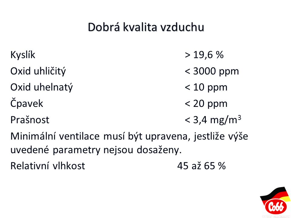 Dobrá kvalita vzduchu Kyslík > 19,6 % Oxid uhličitý < 3000 ppm