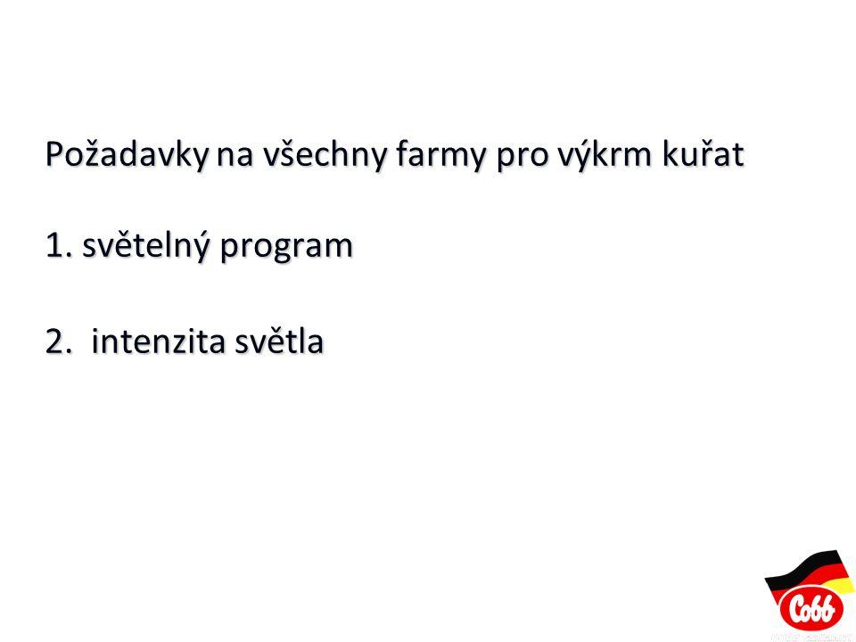 Požadavky na všechny farmy pro výkrm kuřat 1. světelný program 2