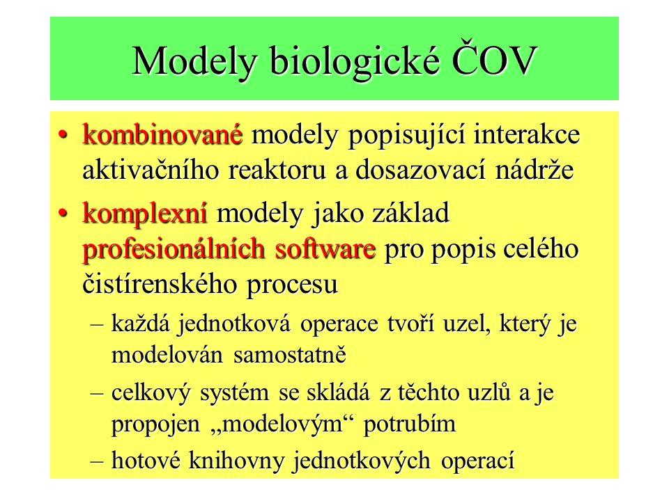 Modely biologické ČOV kombinované modely popisující interakce aktivačního reaktoru a dosazovací nádrže.