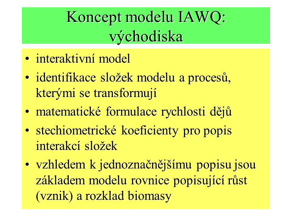 Koncept modelu IAWQ: východiska