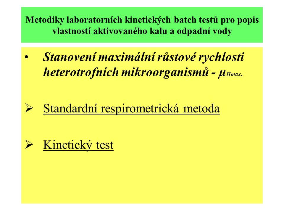 Standardní respirometrická metoda Kinetický test