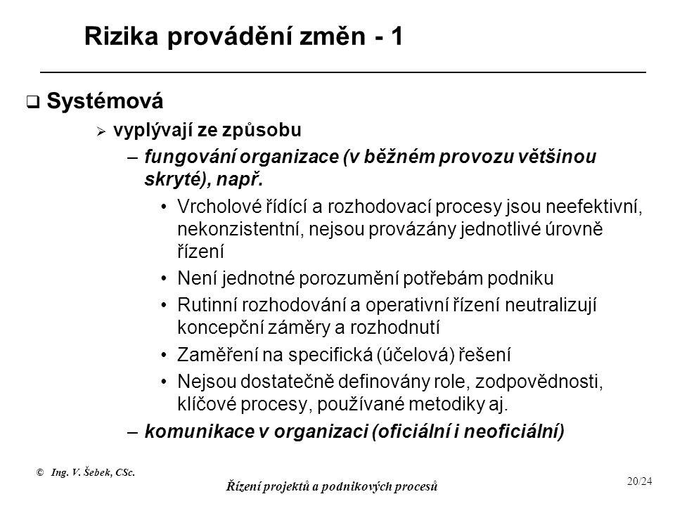 Rizika provádění změn - 1