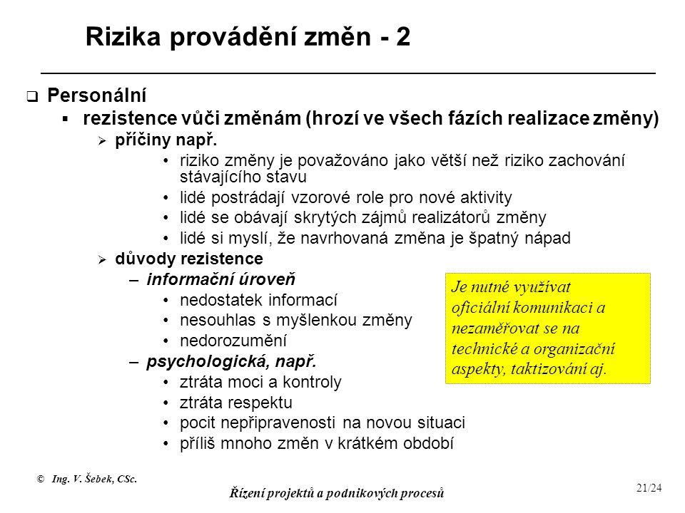 Rizika provádění změn - 2