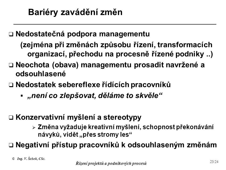 Bariéry zavádění změn Nedostatečná podpora managementu