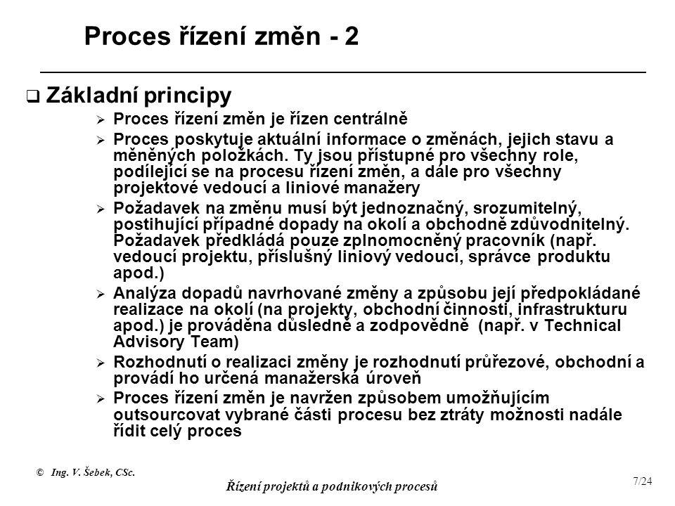 Proces řízení změn - 2 Základní principy