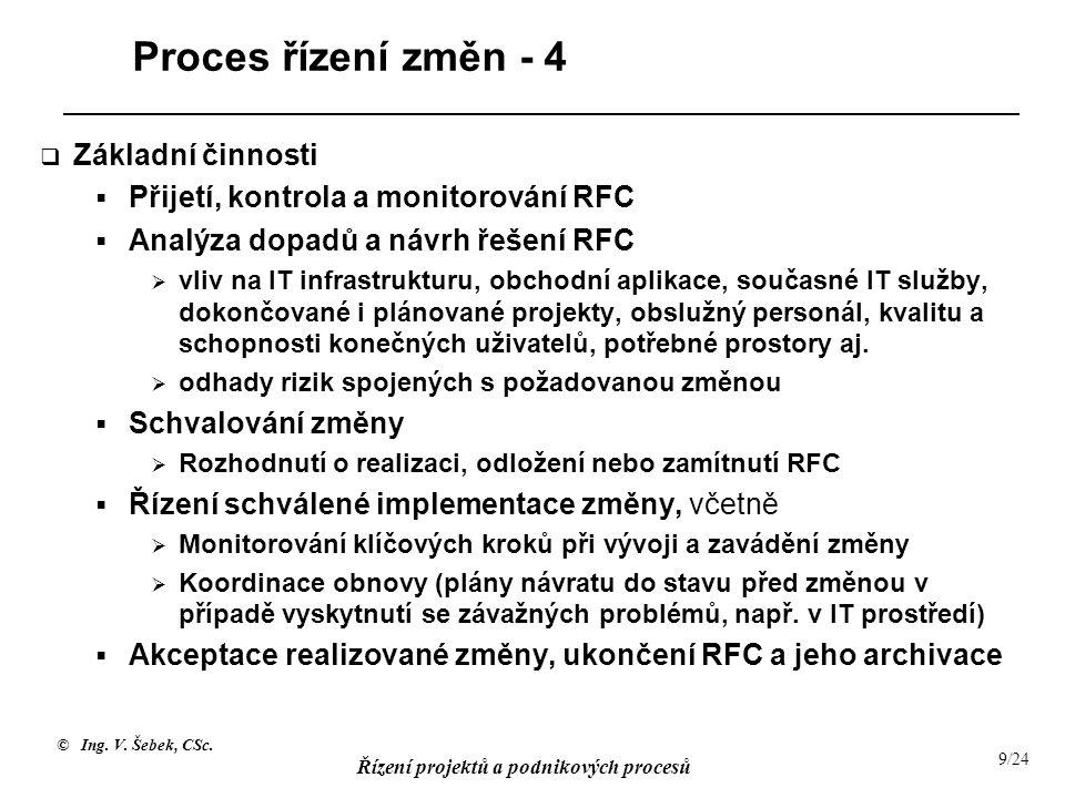 Proces řízení změn - 4 Základní činnosti