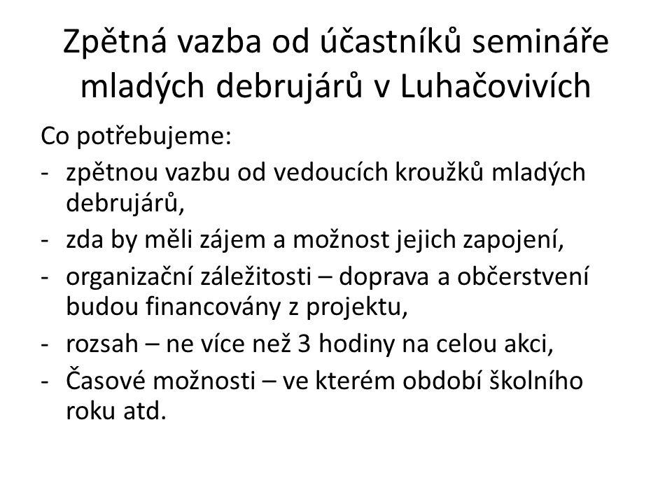 Zpětná vazba od účastníků semináře mladých debrujárů v Luhačovivích