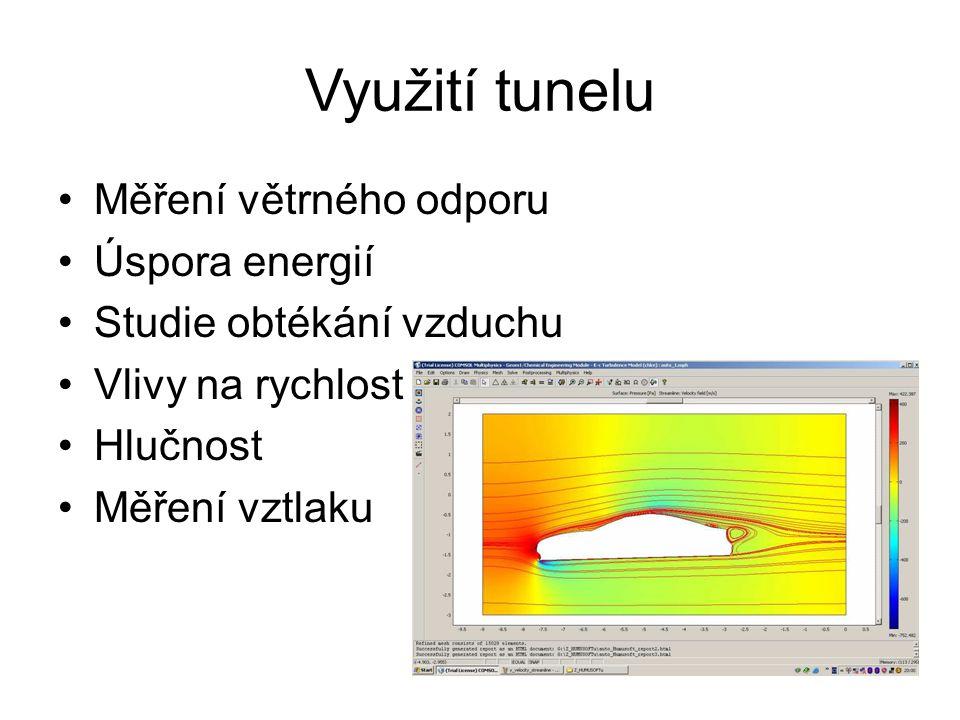 Využití tunelu Měření větrného odporu Úspora energií
