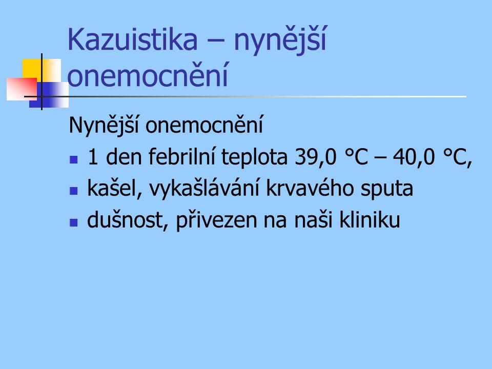 Kazuistika – nynější onemocnění