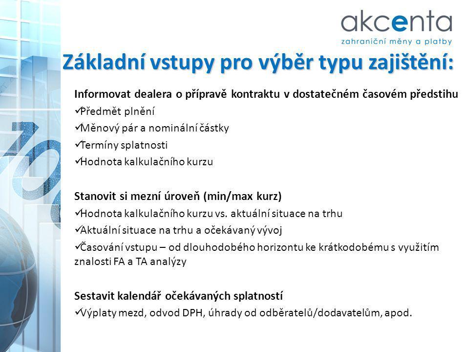 Základní vstupy pro výběr typu zajištění: