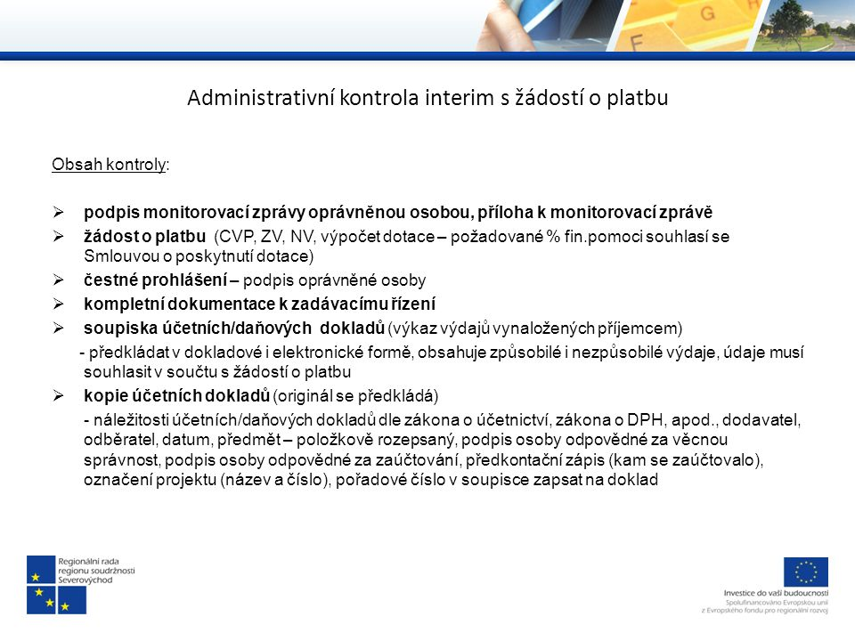 Administrativní kontrola interim s žádostí o platbu