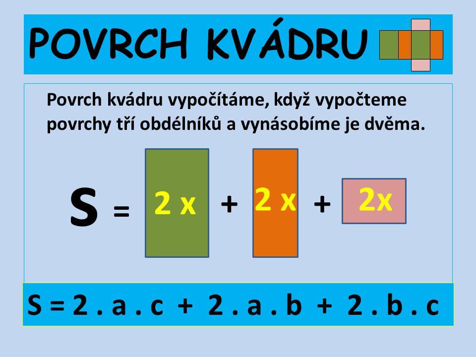 s POVRCH KVÁDRU 2 x 2x 2 x + + = S = 2 . a . c + 2 . a . b + 2 . b . c