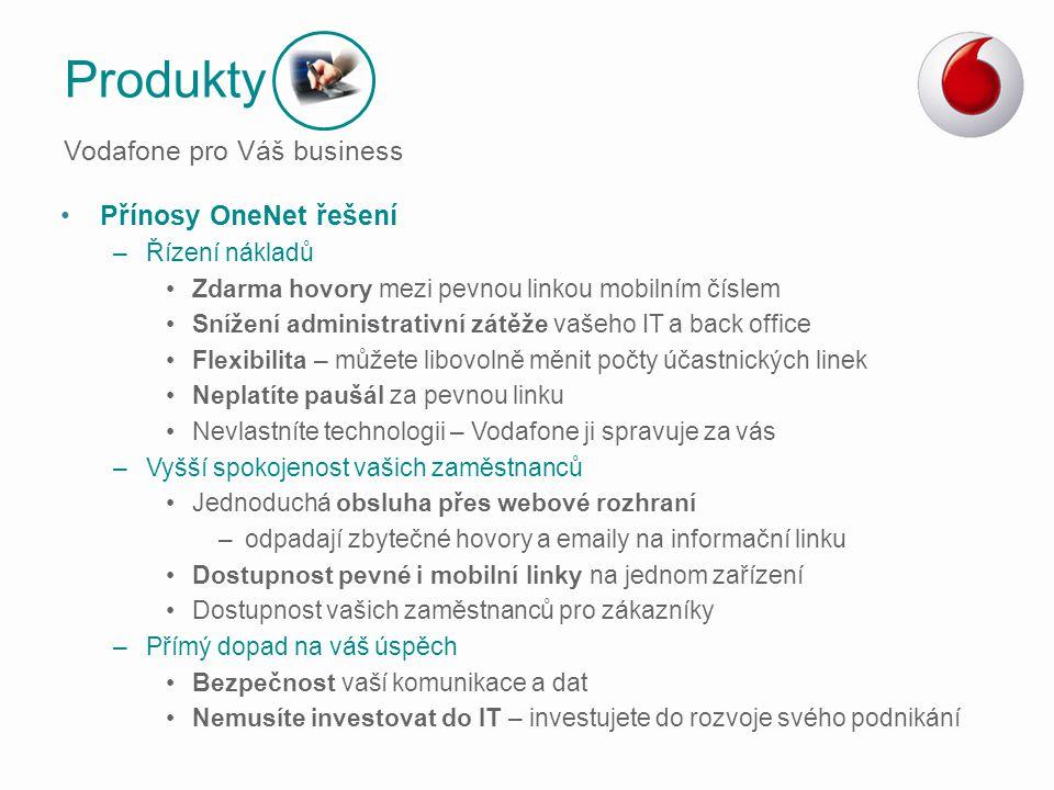 Produkty Vodafone pro Váš business Přínosy OneNet řešení
