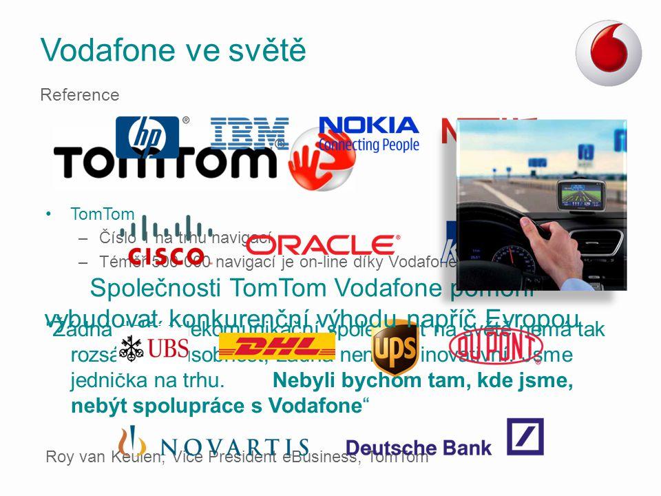 Vodafone ve světě Reference. TomTom. Číslo 1 na trhu navigací. Téměř 500 000 navigací je on-line díky Vodafone.