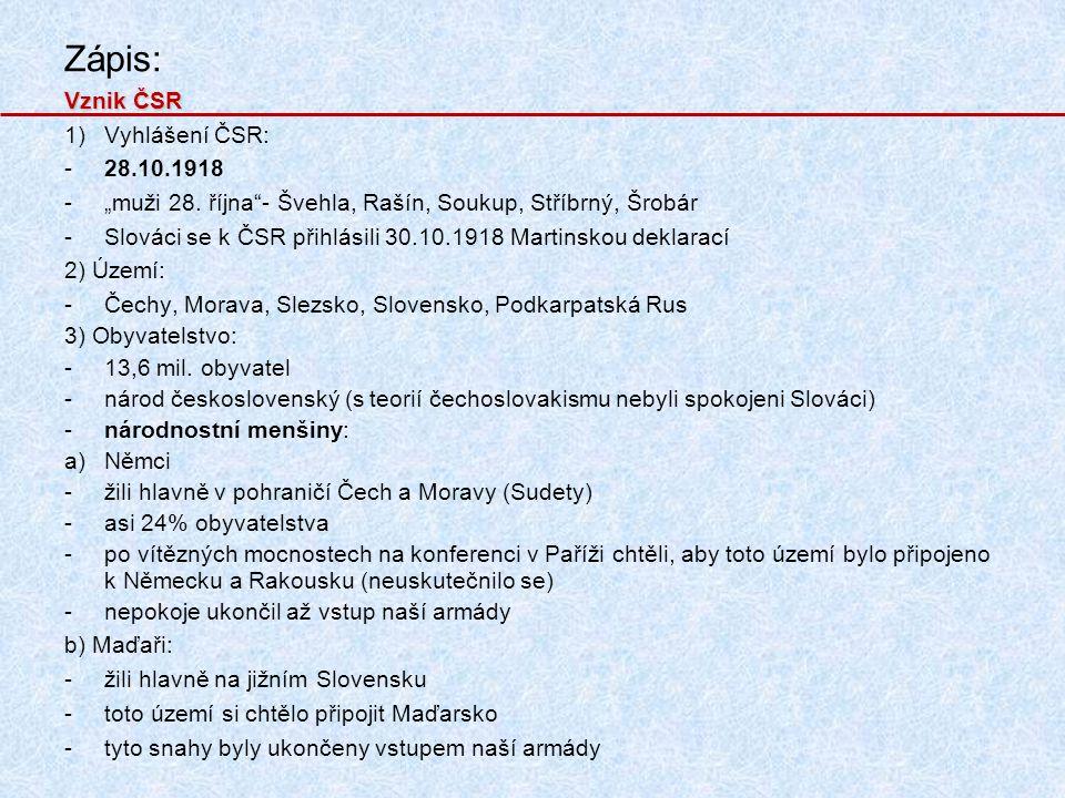 Zápis: Vznik ČSR Vyhlášení ČSR: 28.10.1918