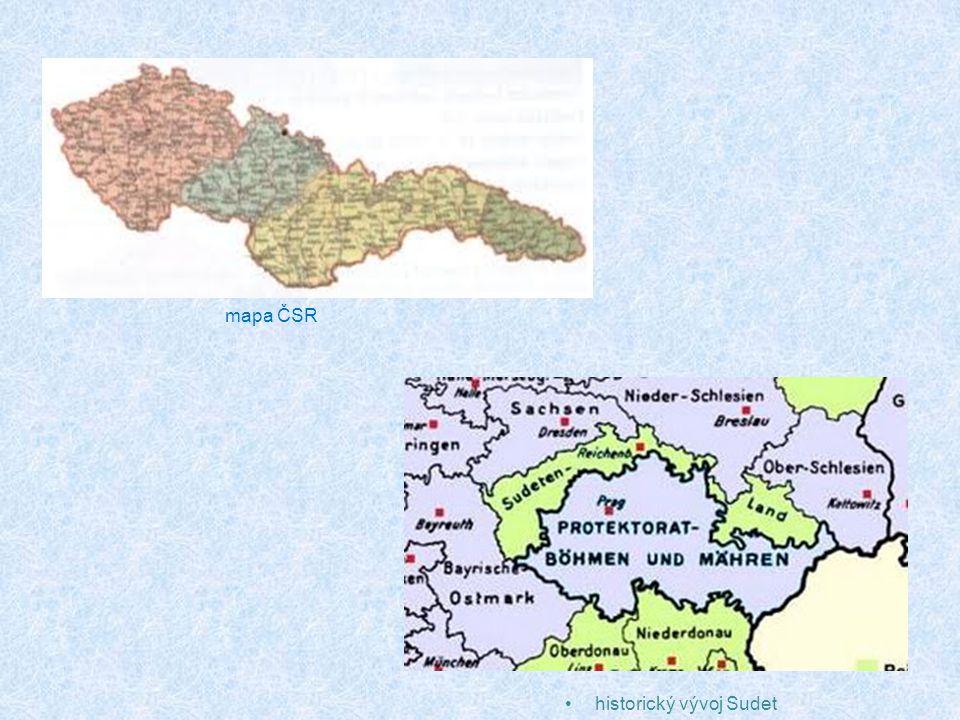mapa ČSR historický vývoj Sudet