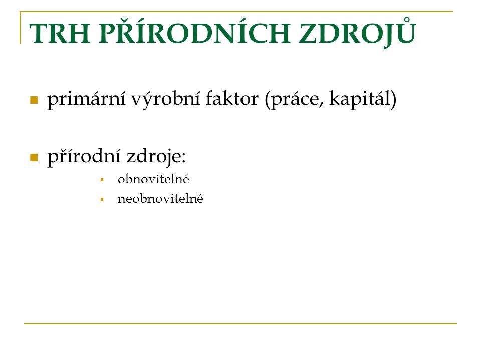 TRH PŘÍRODNÍCH ZDROJŮ primární výrobní faktor (práce, kapitál)