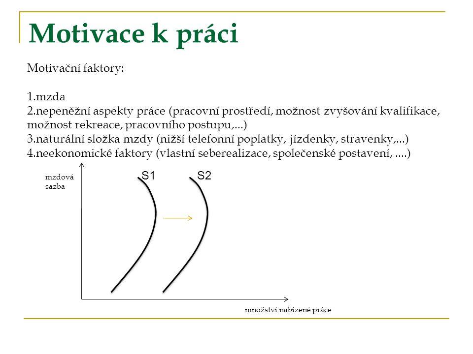 Motivace k práci Motivační faktory: mzda