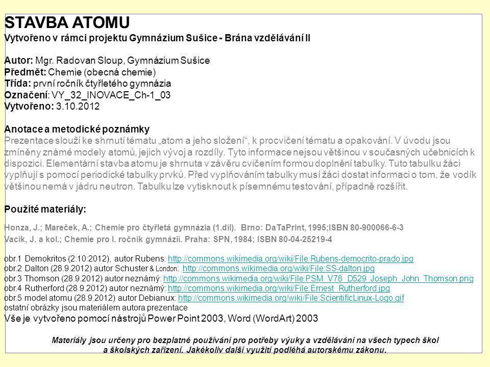 STAVBA ATOMU Vytvořeno v rámci projektu Gymnázium Sušice - Brána vzdělávání II. Autor: Mgr. Radovan Sloup, Gymnázium Sušice.