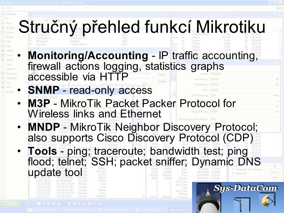 Stručný přehled funkcí Mikrotiku