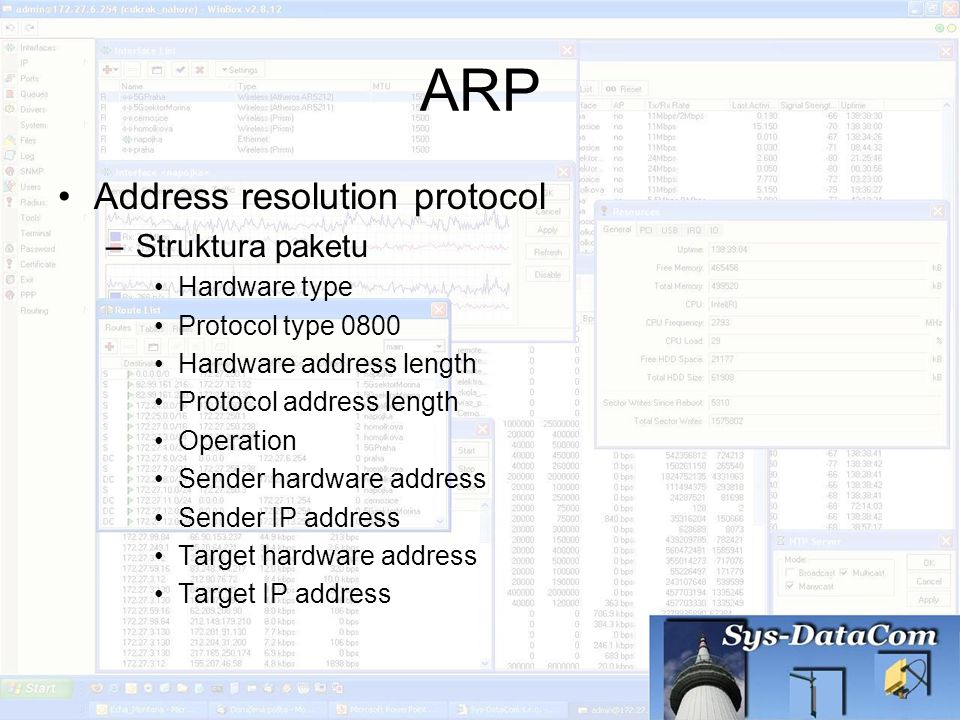 ARP Address resolution protocol Struktura paketu Hardware type