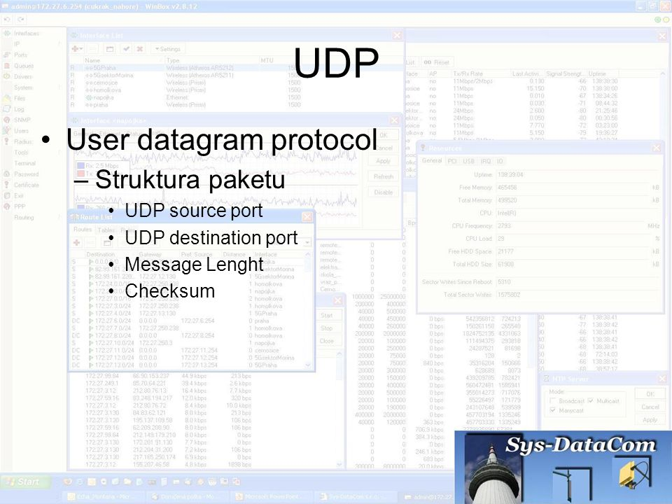 UDP User datagram protocol Struktura paketu UDP source port