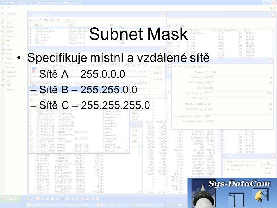 Subnet Mask Specifikuje místní a vzdálené sítě Sítě A – 255.0.0.0
