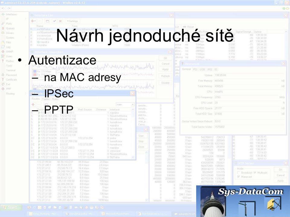 Návrh jednoduché sítě Autentizace na MAC adresy IPSec PPTP
