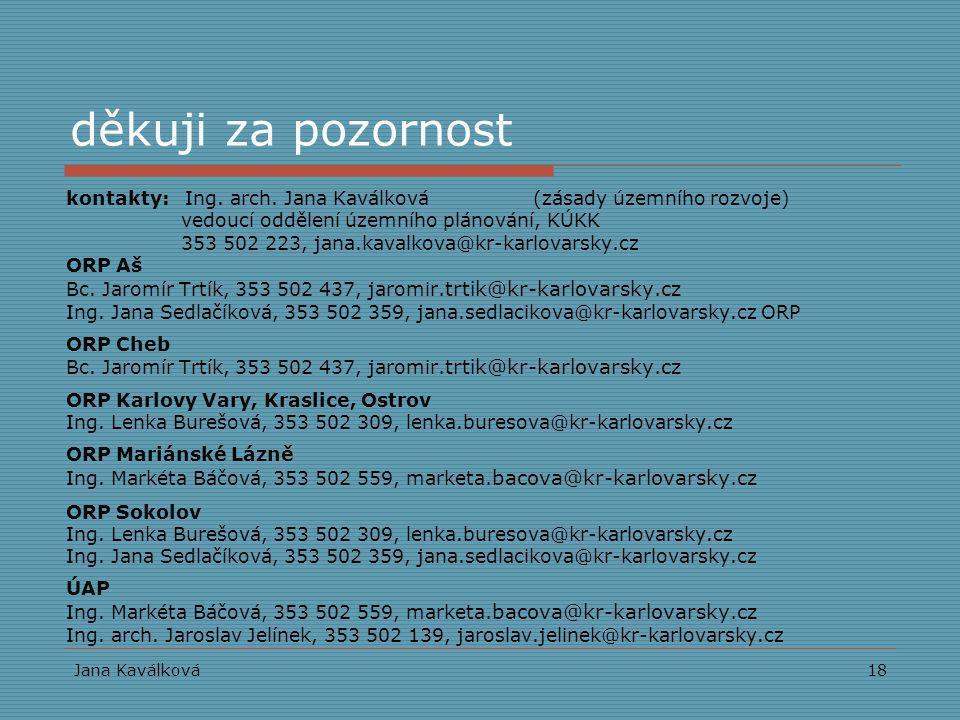 děkuji za pozornost kontakty: Ing. arch. Jana Kaválková (zásady územního rozvoje) vedoucí oddělení územního plánování, KÚKK.