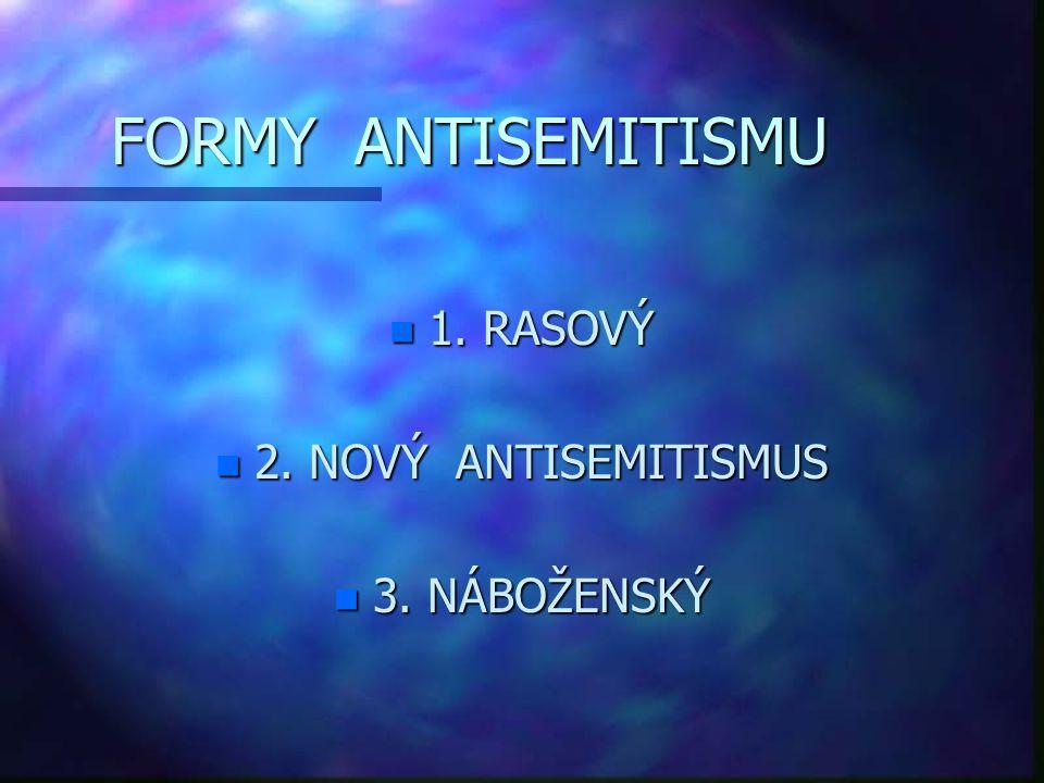FORMY ANTISEMITISMU 1. RASOVÝ 2. NOVÝ ANTISEMITISMUS 3. NÁBOŽENSKÝ