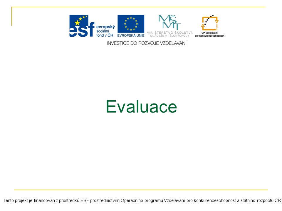Evaluace Tento projekt je financován z prostředků ESF prostřednictvím Operačního programu Vzdělávání pro konkurenceschopnost a státního rozpočtu ČR.