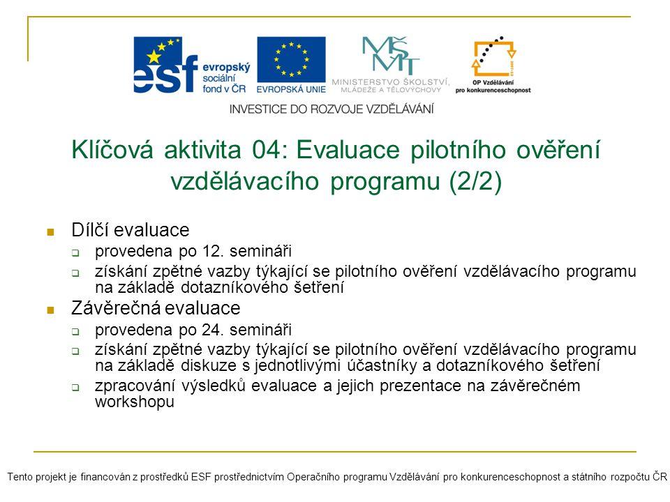 Klíčová aktivita 04: Evaluace pilotního ověření vzdělávacího programu (2/2)