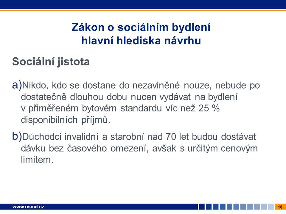 Zákon o sociálním bydlení hlavní hlediska návrhu