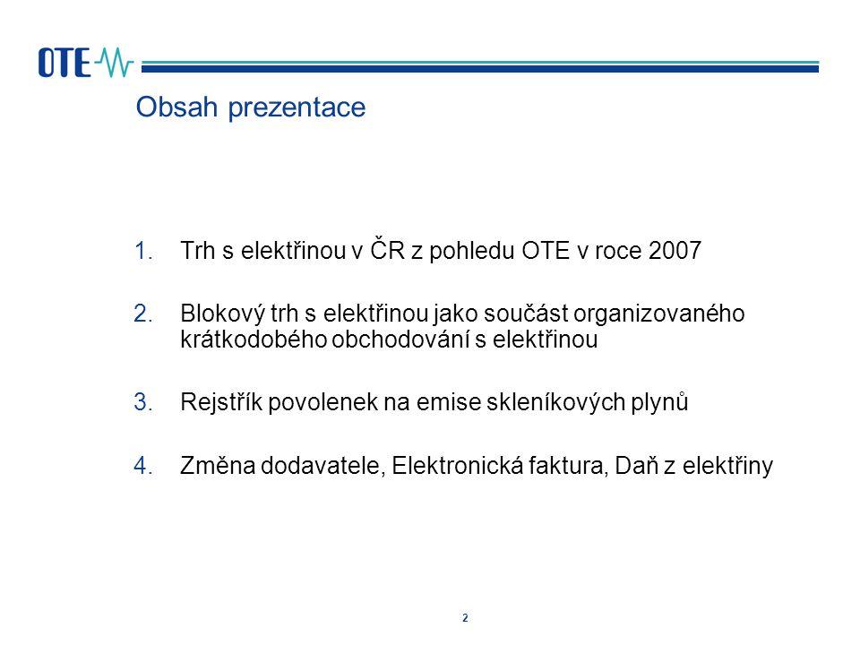 Obsah prezentace Trh s elektřinou v ČR z pohledu OTE v roce 2007