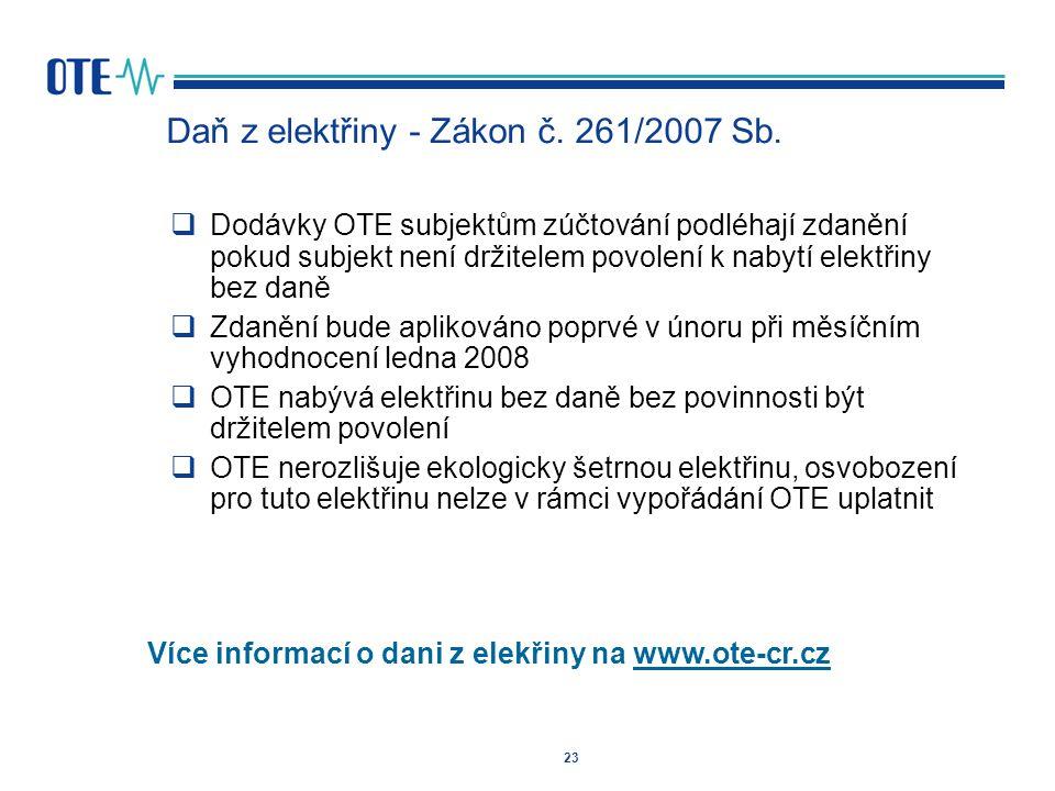 Daň z elektřiny - Zákon č. 261/2007 Sb.