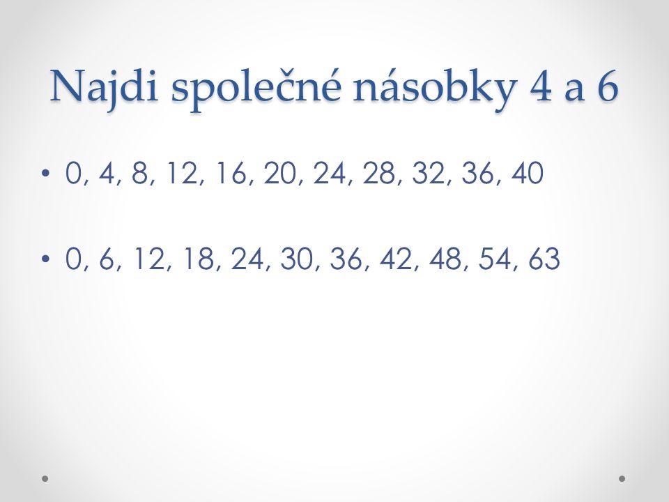 Najdi společné násobky 4 a 6