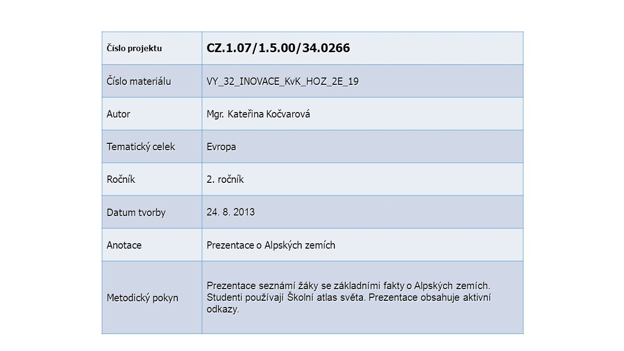 CZ.1.07/1.5.00/34.0266 Číslo materiálu VY_32_INOVACE_KvK_HOZ_2E_19