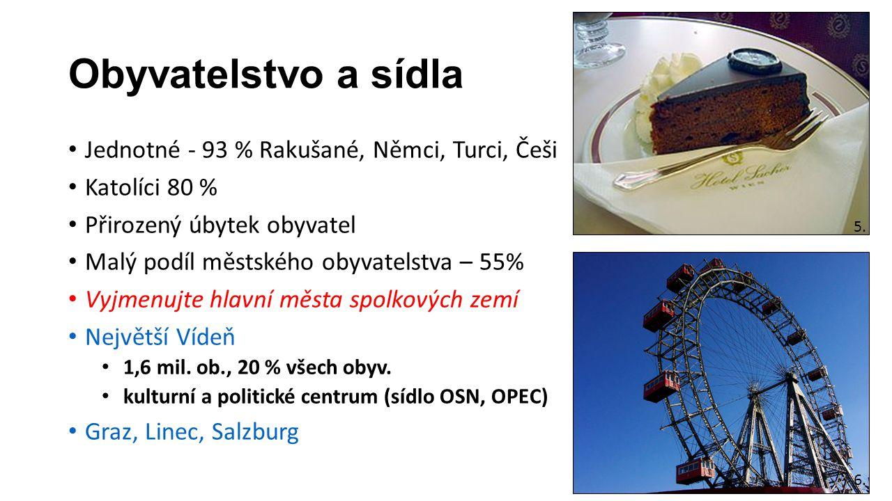 Obyvatelstvo a sídla Jednotné - 93 % Rakušané, Němci, Turci, Češi