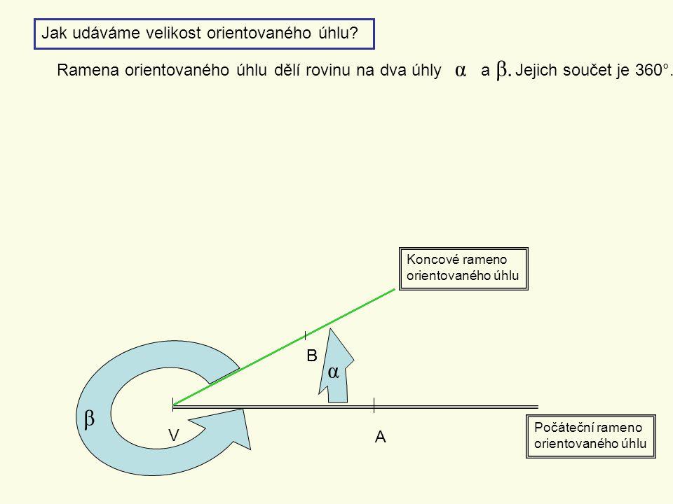 α α β Jak udáváme velikost orientovaného úhlu a β.