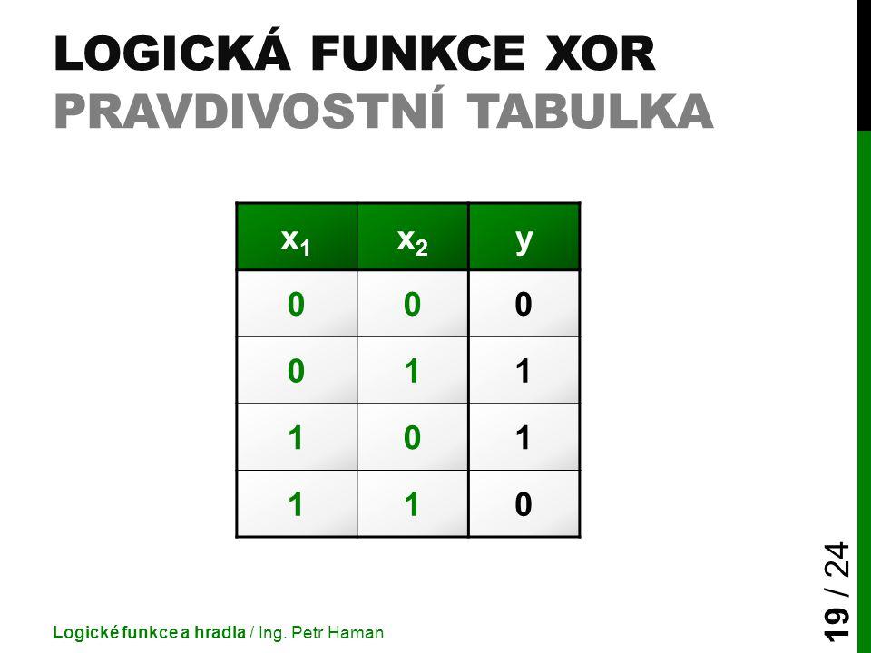 Logická funkce XOR pravdivostní tabulka
