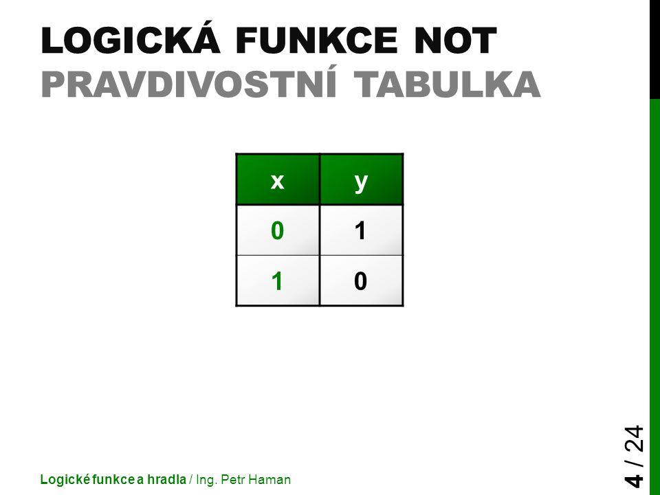 Logická funkce Not pravdivostní tabulka