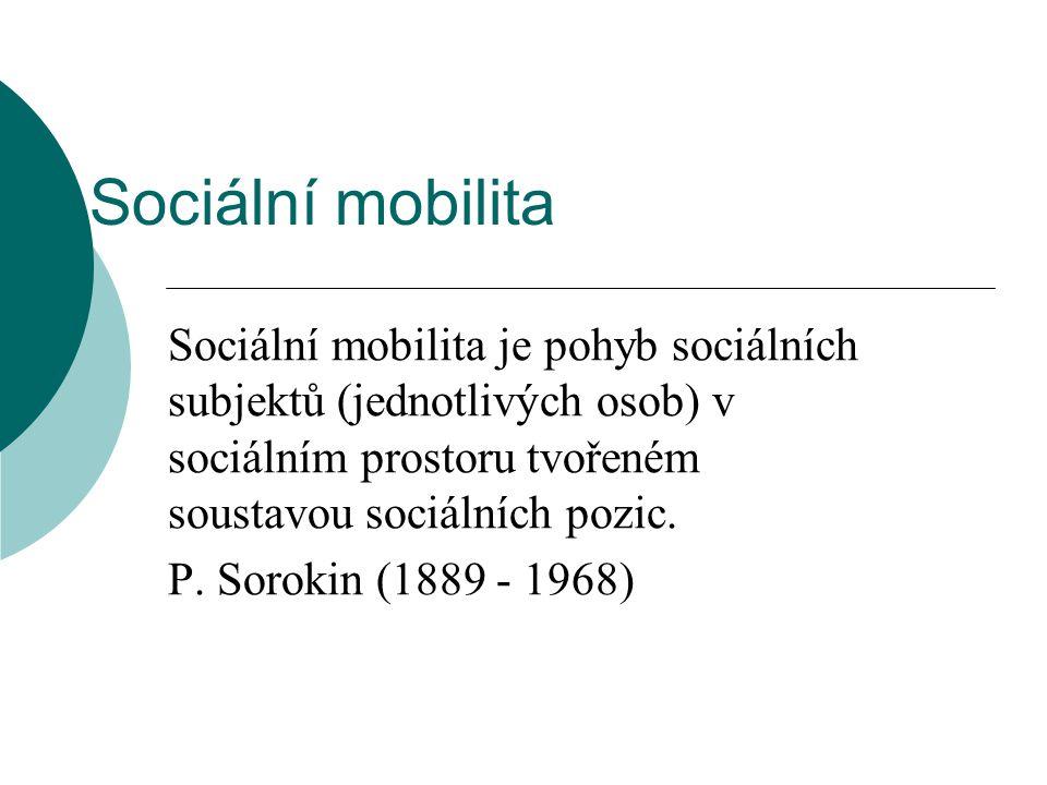 Sociální mobilita Sociální mobilita je pohyb sociálních subjektů (jednotlivých osob) v sociálním prostoru tvořeném soustavou sociálních pozic.