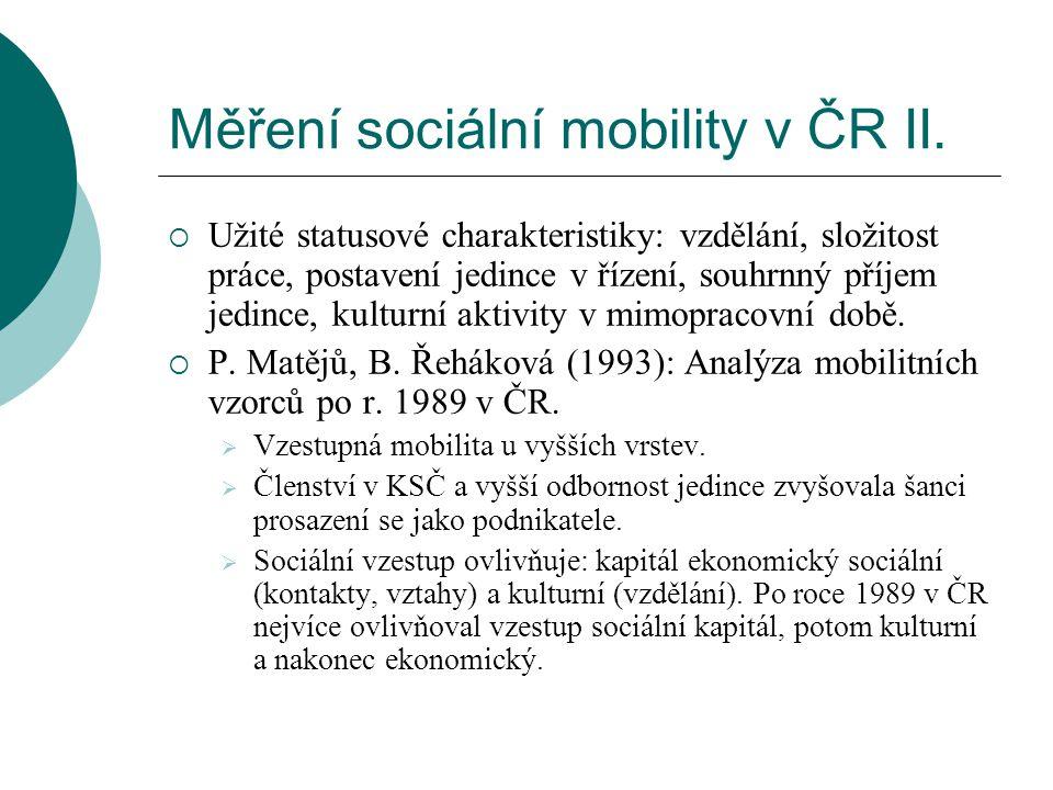 Měření sociální mobility v ČR II.