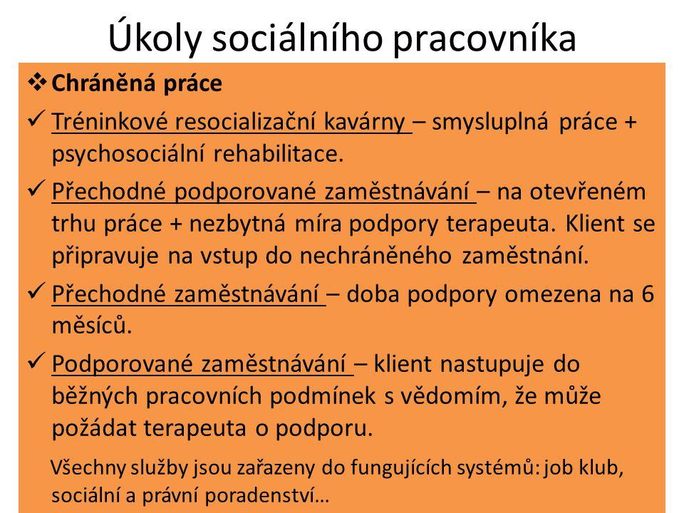 Úkoly sociálního pracovníka