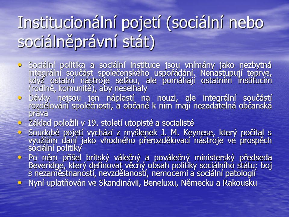 Institucionální pojetí (sociální nebo sociálněprávní stát)