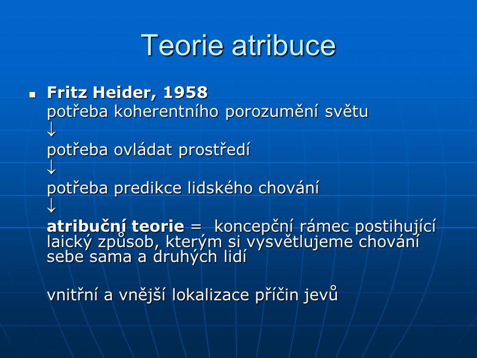 Teorie atribuce Fritz Heider, 1958